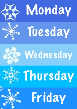 Days of the week Winter theme