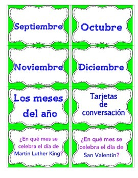 Days of the week and Months of the year conversational flash cards