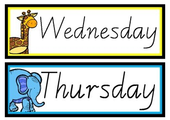 Days of the week - animal theme