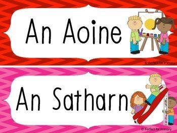 Days of the week as Gaeilge