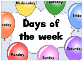 Days of the week balloons