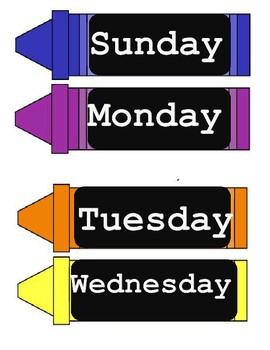 Days of the week calendar  Crayons theme classroom organization