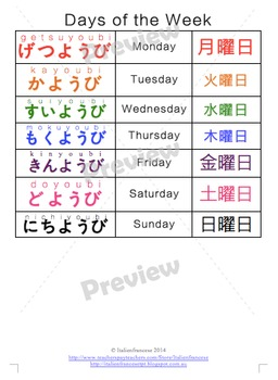 Days of the week calendar in Japanese