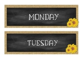 Days of the week cards 7 Days! (Burlap and Chalkboard) EDITABLE