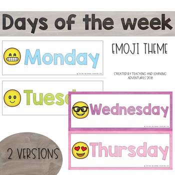 Days of the week cards-emoji theme