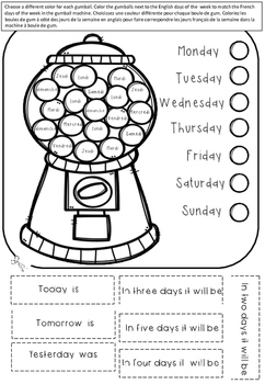 Days of the week- choose your own color!