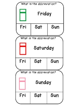 Days of the week clothespin activity cards
