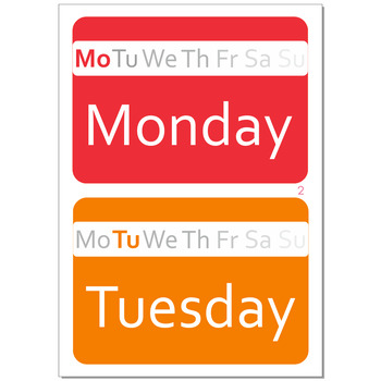 Days of the week colourful flashcards