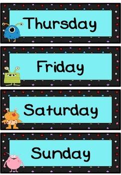 Days of the week flashcards (Monster/alien theme)