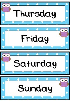 Days of the week flashcards (Owl theme)