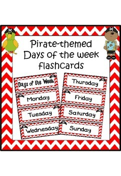 Days of the week flashcards (pirate theme)