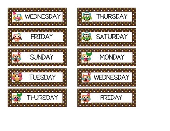 Days of the Week for Each Season