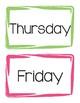 Days of the week headers