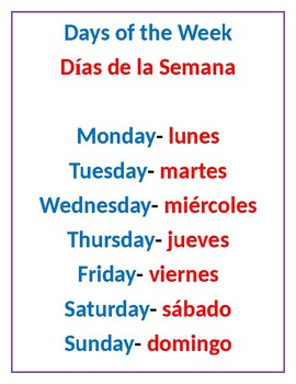 Days of the week in dual language