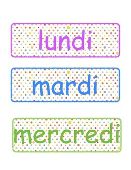 Days of the week in french, Jours de la semaine ( Days 1,2,3,4,5)