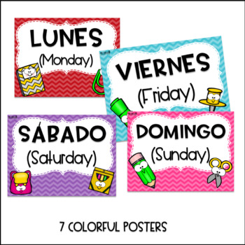 Days of the week in posters in Spanish
