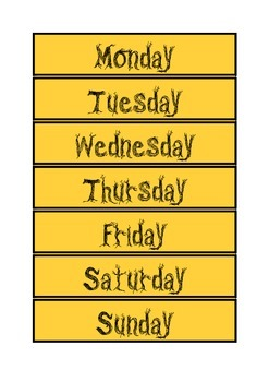 Days of the week in style of seasons