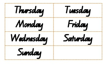 Days of the week jumbled - QLD font