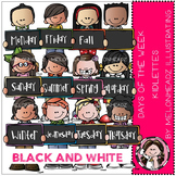 Days of the week clip art - Kidlettes - BLACK AND WHITE- by Melonheadz