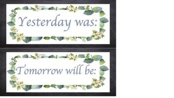 Days of the week labels (greenery, eucalyptus, floral, blackboard design)