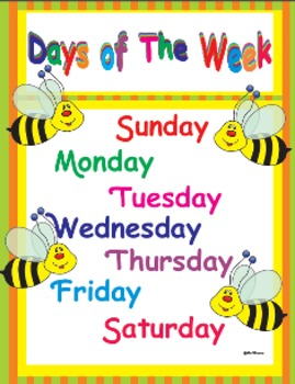 Days of the week learning Poster and chart