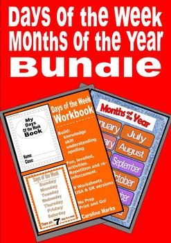 Days of the Week Months of the Year Workbook BUNDLE UK/USA