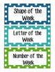 Days of the week, number, shape and letter signs Polka Dot