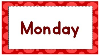 Days of the week polka dot border
