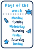 Days of the week poster | Blue