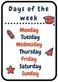 Days of the week printable classroom poster | Orange