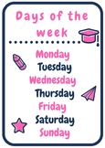 Days of the week printable poster | Pink