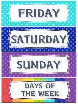 Days of the week raimbow polka dots