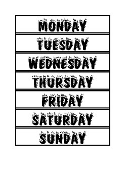 Days of the week styled in the four seasons (black and white)