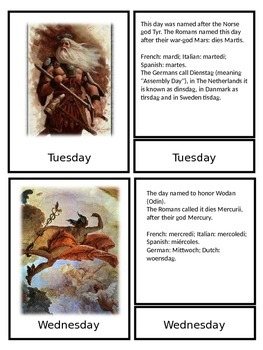 Days of the week  three part cards