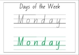 Days of the week tracing