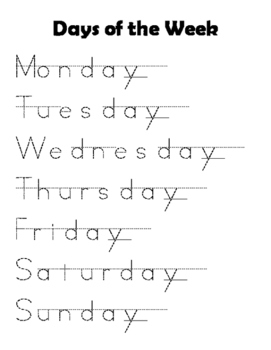 Days of the week tracing practice