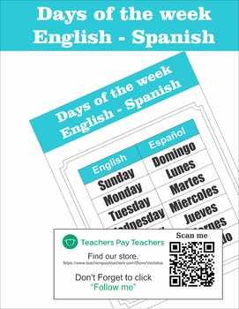 Bilingual Days of the week English - Spanish