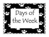 Days of the week with Paw print border
