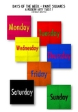 Days of the week with a modern arty twist for displays or