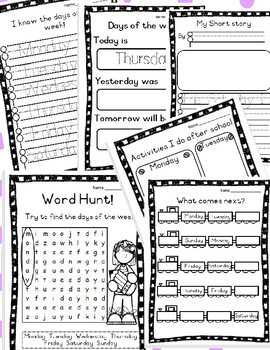 Days of the week worksheet collection