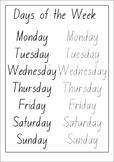 Days of the week writing set