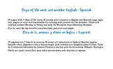 Days of week, weather English Spanish