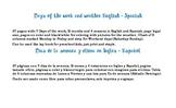 Days of week, weather English Spanish
