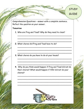 Days with FROG and TOAD  ELA Reading Novel Study Guide Printable CCSS