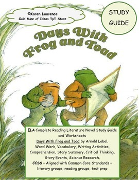 Days with FROG and TOAD  ELA Reading Novel Study Guide Pri