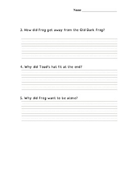 Days with Frog and Toad- Comprehension Questions