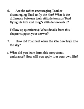 Days with Frog and Toad: Comprehension Questions (The Kite)