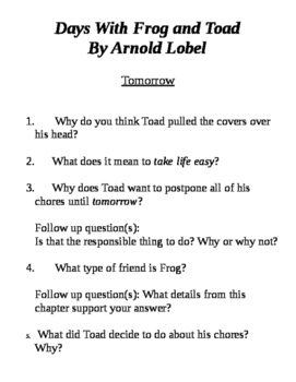 Days with Frog and Toad: Comprehension Questions (Tomorrow)