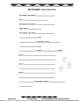 De Colores- Mariachi Music (MP3), Worksheets,and Pictures and  to Learn Spanish
