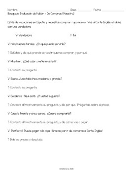 De Compras - Simulated Conversation Speaking Test (Script and Student Outline)